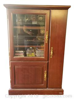 Stereo System Cabinet With Electronics/CD/Cassettes VCR