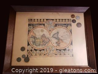 Vtg. World Map Framed With Coins