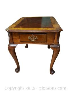 Small Wooden End Table With Front Drawer