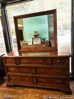 Large Dresser/Chest With Attached Mirror