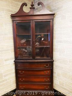 Antique Victorian Corner China Cabinet