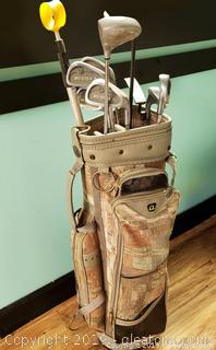 Vtg. Set Of Golf Bag And Clubs