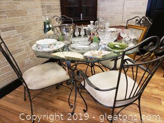Glass Octagon Shaped Wrought Iron Table