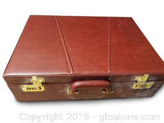 Vtg. Leather Briefcase With Books