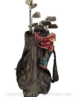Vtg. Set Of Golf Clubs With Bag