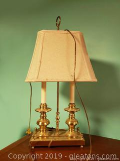 Double Light Desk Brass Lamp