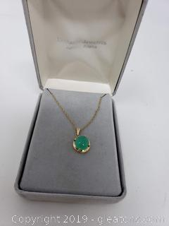 14k Gold Jade Pendant Necklace