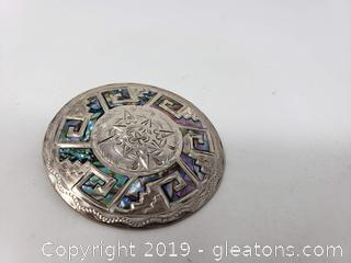 Sterling Silver Brooch Made In Mexico