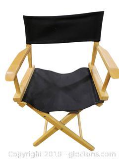 Vtg. Style Telescope Folding Directors Chair W/Canvas