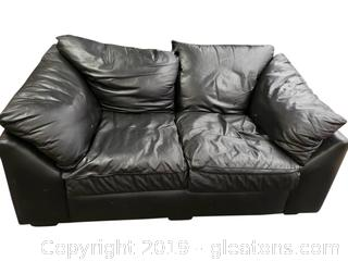 1999 Hand Crafted Black Leather Love Seat