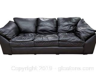 1999 Matching Leather Crafted Black Leather Sofa