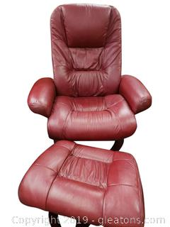 Adjustable Stressless Reclining Leather Lounge Chair With Ottoman