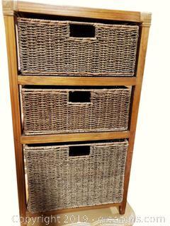 (4) Pc Wood Storage Tower WIth (3) Corn Husk Baskets Organizer