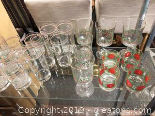 Christmas Lot Of Glasses