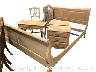 King Size French Country Sleigh Bed By Ethan Allen (B)