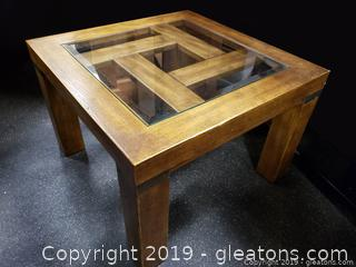 """Small Glass Top """"Drexel"""" Heritage Matching, Side Table"""