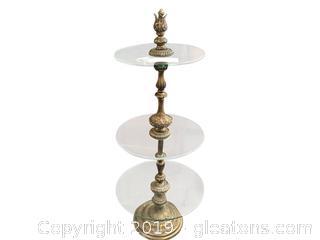 Brass Glass 3 Level Shelf Round