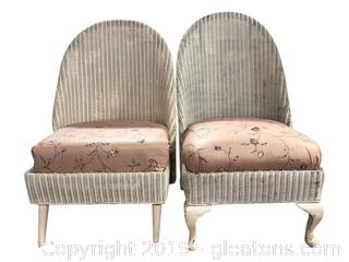 PR Of Low High Back Wicker Chairs W/Covered Seats