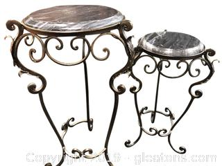 Set Of (2) Iron Plant Stands With Black/Grey Marble Tops