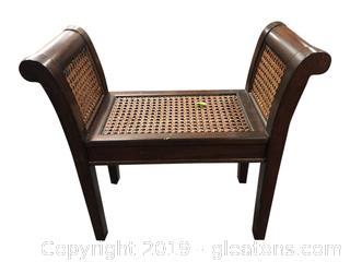 Nice Wood Rattan Bench Seat