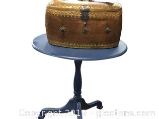 Small Blue Side Table + Very Ornate Brass Detailed Wooden Box Handmade For Manchester LTD.