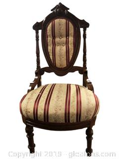 Antique Low Victorian Parlor Chair/Armless