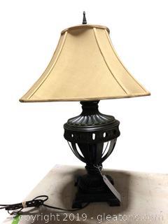 Large Ginger Jar Shape Metal Ornate Table Lamp