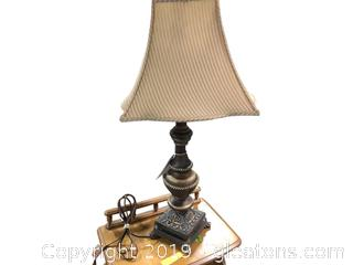 Beautiful Antique Painted Stripped Shade Lamp