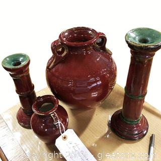 Nice Collection Of Red Pottery Vases, And Urns