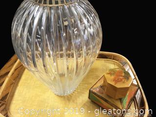 Large Clear Diamond Ribbon Glass Vase