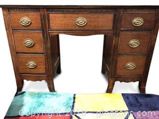 Antique Vanity Desk Solid Mahogany