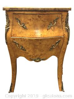 Vintage Refurbished French Gold Gilded Side Table With Handmade Top
