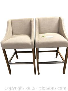 Set Of 2 Bar Stools Needs Upholstering