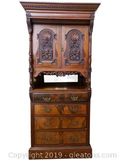 Beautiful 1800's English Antique Chest Linen Press