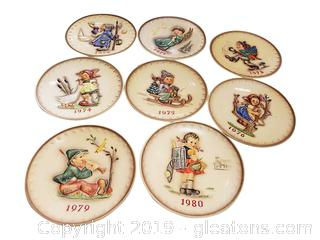 Set Of (8) M.J. Hummel Annual Plates Collectible