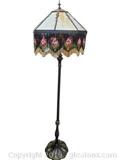 Beautiful Victorian Stained Glass Beaded Floor Lamp