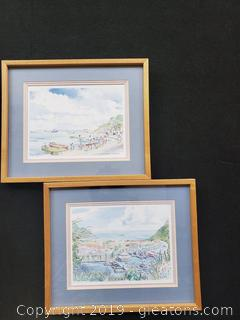 Pair Of Watercolor Prints Of St. Martin