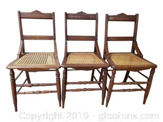 Set Of (3) Caned Bottom Dining Chairs