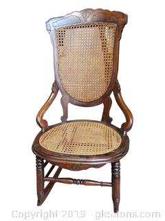 Antique Hand Carved Cane Rocker Chair