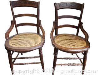 PR Of Cane Bottom Vtg. Dining Chairs