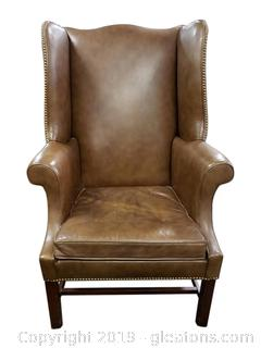 """Vtg. Leather Wing Back Chair By """"Hickory Chair"""""""