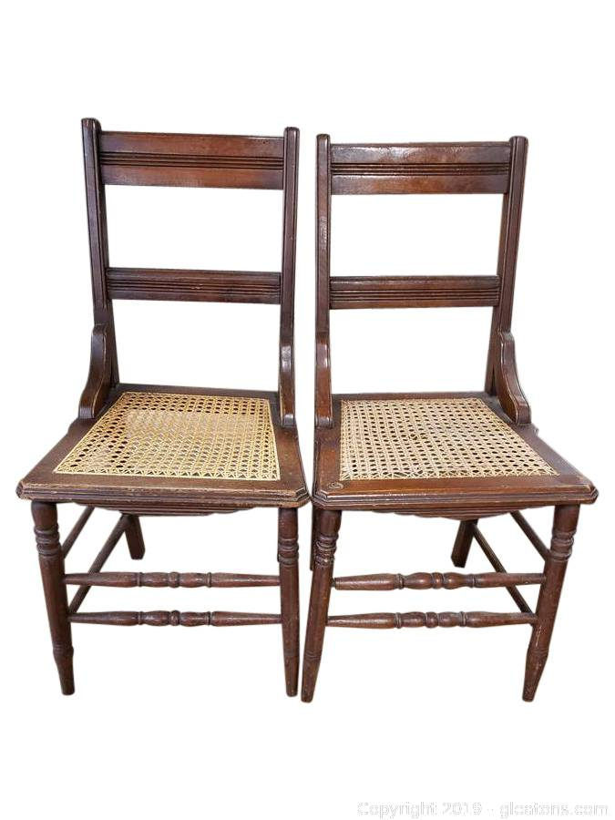 Gleaton S Metro Atlanta Auction Company Estate Sale Business Marketplace Auction Downtown College Park Estate Sale Sterling And Outdoor Furniture Item Set Of 2 Cane Bottom Wood Dining Chairs