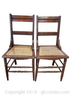 Set Of (2) Cane Bottom Wood Dining Chairs