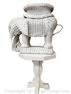 Small Vtg. White Wooden Table With Elephant Wicker Plant Stand/Table