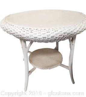 Round White Wicker Table With Bottom Shelf