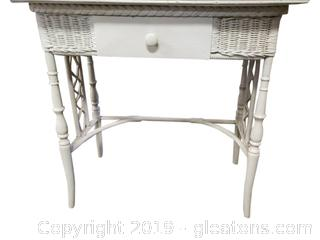 Small White Wicker/Wooden Desk Vanity Table With No Mirror