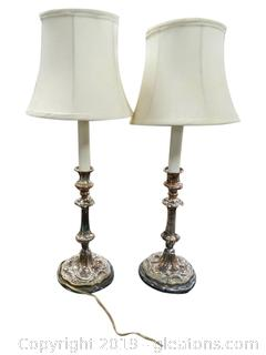 PR Of Silver Plated Table Lamps