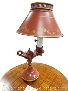 Vtg. Finger Metal Brass Bed Side Lamp