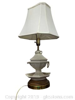 Ceramic Wood/Brass Base Table Lamp