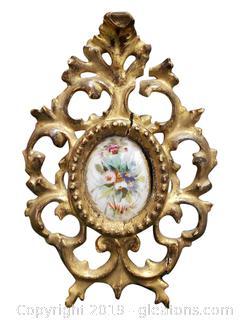 Vtg. Florentia Italy Flower Bouquet Picture Wood Frame